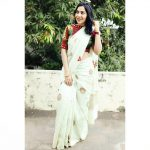 ramya vj in white designer with colored blouse saree at her terrace 2