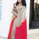 ramya vj posing in ash and red colored cotton saree