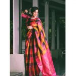 ramya vj with checked pink rose black and yellow silk saree jasmine flowers and a diamond necklace