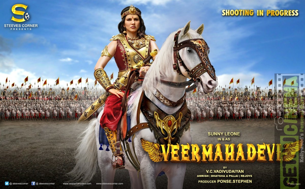 veeramadevi aka veeramahadevi sunnyleone first look in queen riding horse warrier (2)