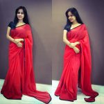 Athithi Das, red saree, off screen
