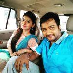Bobby Simha, Reshmi Menon, bule dress, car, selfie