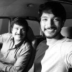 Gautham Karthik, selfie, dad, car