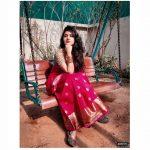 Gayathri Suresh, red saree, beautiful