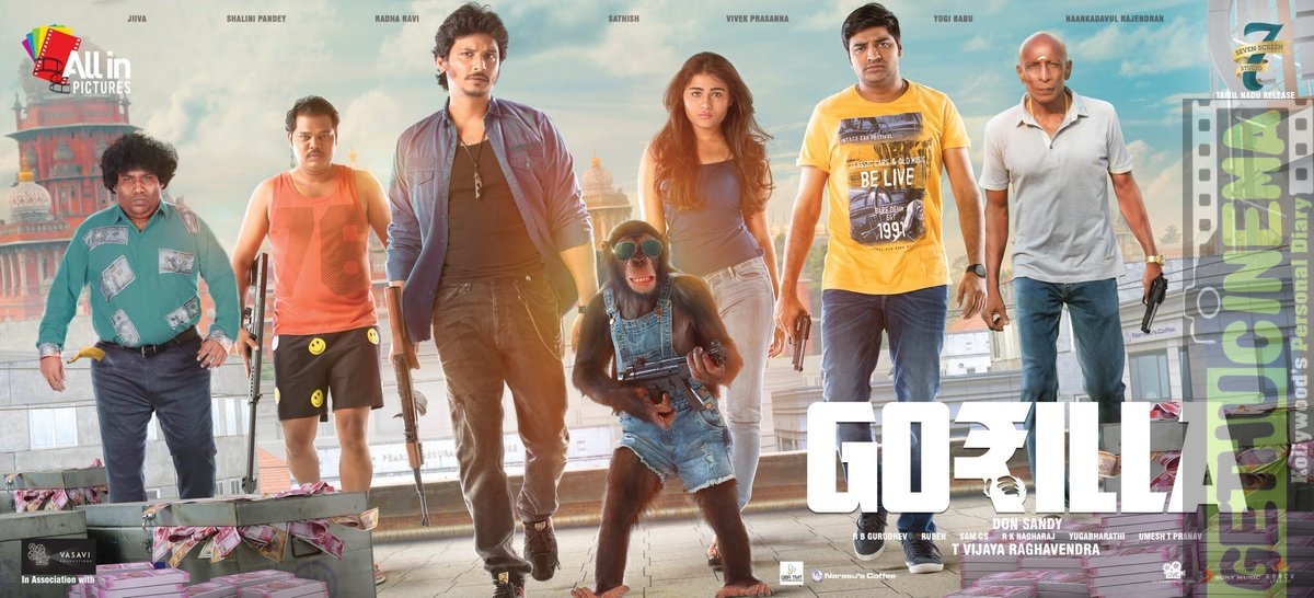 Gorilla, first look, jeeva, shalini pandey, sathish (2)