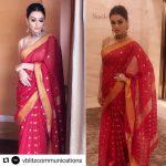 Hansika Motwani, red saree, double look