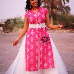 Hari Teja, pink dress