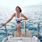 Jacqueline Fernandez, Boat, White Dress, Sea
