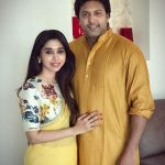 Jayam Ravi, Aarthi, Yellow Saree, husband and wife