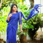 Jewel Mary, 2018, photo shoot, blue saree