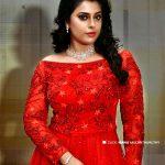 Jewel Mary, red dress, photo shoot