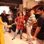 Kaatrin Mozhi, jyothika, shooting spot, yellow saree