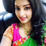 Malavika Menon, green saree, selfie, car