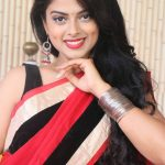 Siddhi Idnani, red saree, hip visible, cute smile