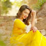 Tejaswi Madivada,  yellow dress, red, lipstick
