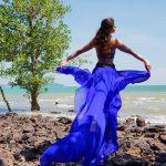 Vedhika blue long skirt pic by beach  (20)