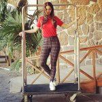 Vedhika red t shirt fun in hotel lobby (1)