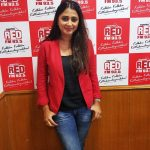 actress kaniha   at red fm with red jacket and black tee and blue jean (23)
