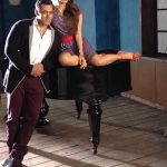 actress kiara advani posing with salman khan atop a piano for being human portfolio