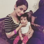 anaika soti photo with cute child black top white striped tee (7)