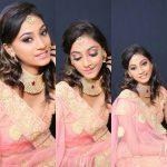 anukreethy vas Miss TamilNadu India 2018 rose saree with big necklace gold ornaments  (6)