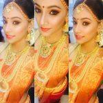 anukreethy vas Miss TamilNadu India 2018 traditional bridal make up gold saree jewellary  (5)
