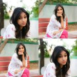 anukreethy vas Miss TamilNadu India 2018 traditional churidhar white and rose color free hair cute expression pose (8)