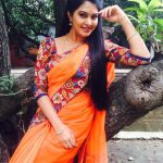 rachitha dinesh mahalakshmi Saravanan Meenakshi actress, instagram and travel photos  (2) in orange saree  posing against a tree