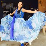 rachitha dinesh mahalakshmi Saravanan Meenakshi actress, instagram and travel photos  (30) blue modern dress