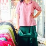 Actress of Sacred Games, Sexy Durga Rajshri Deshpande posing casual look in pink shirt and green lungi