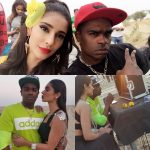 Alankrita Sahai with dancer choreographer during shoot kissing