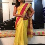 Anjali, yellow saree, shooting spot