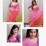 Anjena Kirti, saree collage, pink colour