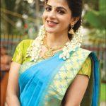 Iswarya Menon, blue saree, malligai