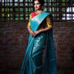 Nakshathra, blue saree, adorable