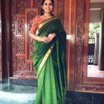 Nakshathra, green saree, attractive