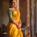 Nakshathra, yellow saree, gorgeous