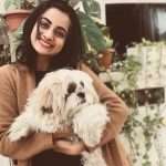 Namitha Pramod, smile, pet animal, dog