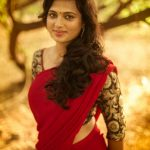 Ramya Pandiyan, red saree, sightly