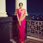 Shivani Rajashekar, pink saree, night