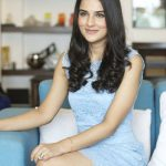 angira dhar in blue dress