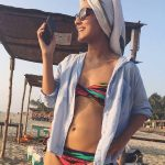 angira dhar vacationing beach  two piece