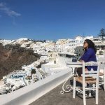 kubbra sait Greece holidaying alone traveller solo blue dress (1)