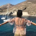 kubbra sait in greece italy in bikini in boat sunset photo  (2)