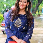 Aaruthra, press meet, Sanjana Singh, blue dress