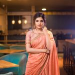 Aathmika, treditional, orange saree