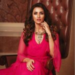 Akshara Gowda, pink dress
