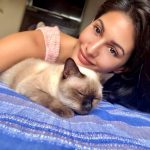 Amyra Dastur, cat, lying