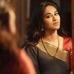 Indhuja, dazzling look, saree