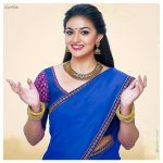 Keerthy Suresh, photo shoot, ad shoot, blue half saree